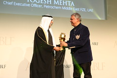 Yogesh Mehta, Chief Executive Officer, Petrochem Middle East FZE, UAE, receiving the ABLF Business Courage Award from H.H. Sheikh Nahayan Mabarak Al Nahayan, Minister of Culture and Knowledge Development, UAE