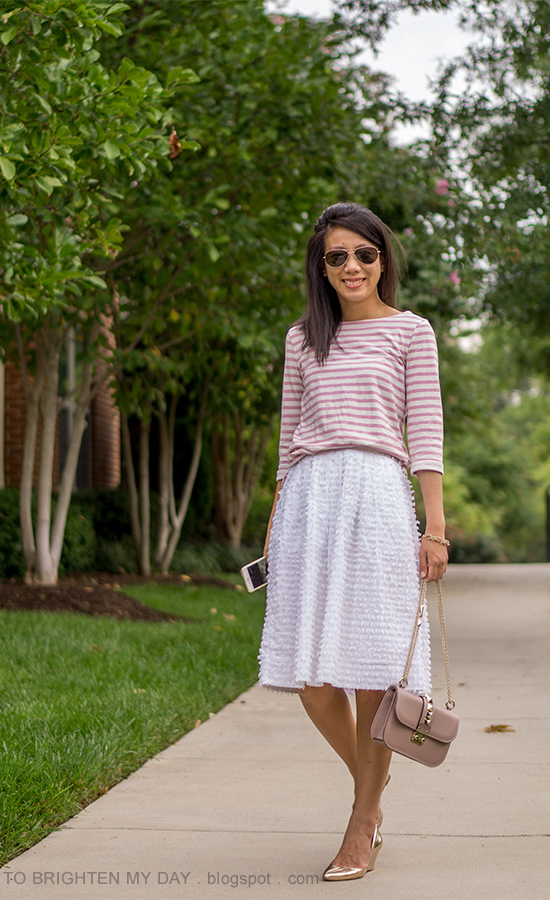 pink striped top, white clip dot midi skirt, rose gold metallic wedges, nude shoulder bag, pave chain link bracelet