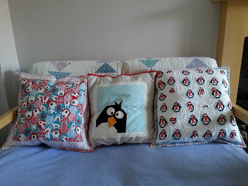 And my two #Christmascushionalong cushions with their inspiration, which was made for me last year by @rosedahlia - he got lonely last year and I realised I needed more Christmas cushions to keep him company. I'm quite pleased with how well they work toge