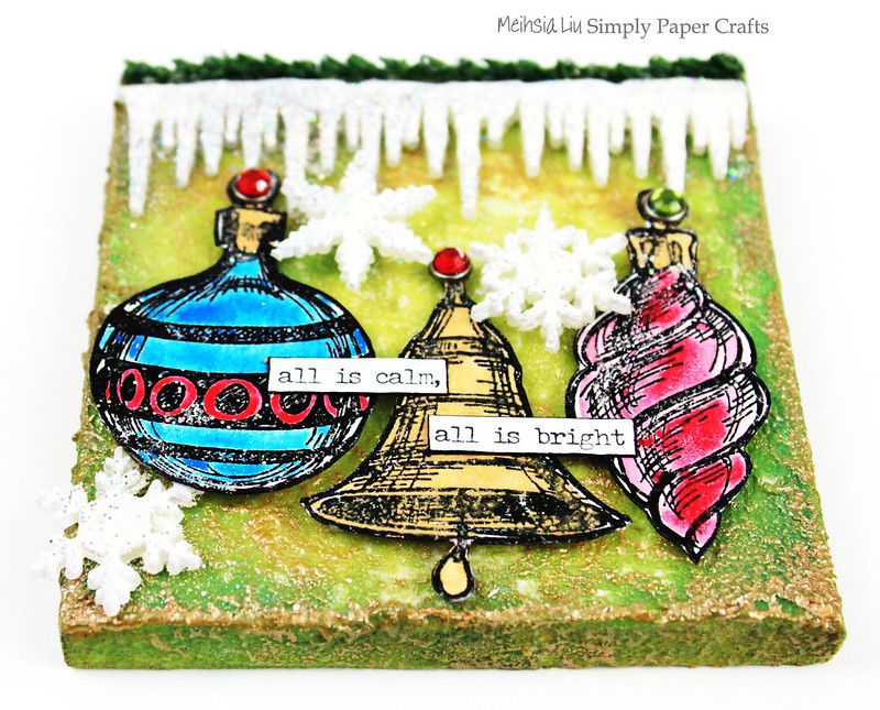 Meihsia Liu Simply Paper Crafts Mixed Media Canvas Trio Tastic Ornaments Snowflakes Tim Holtz Simon Says Stamp Monday Challenge