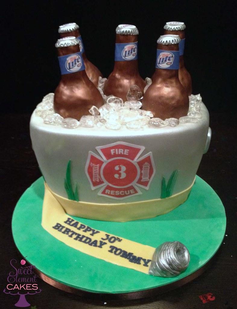 Bucket Of Miller Lite Firefighter Birthday Cake Jen Roberts Flickr