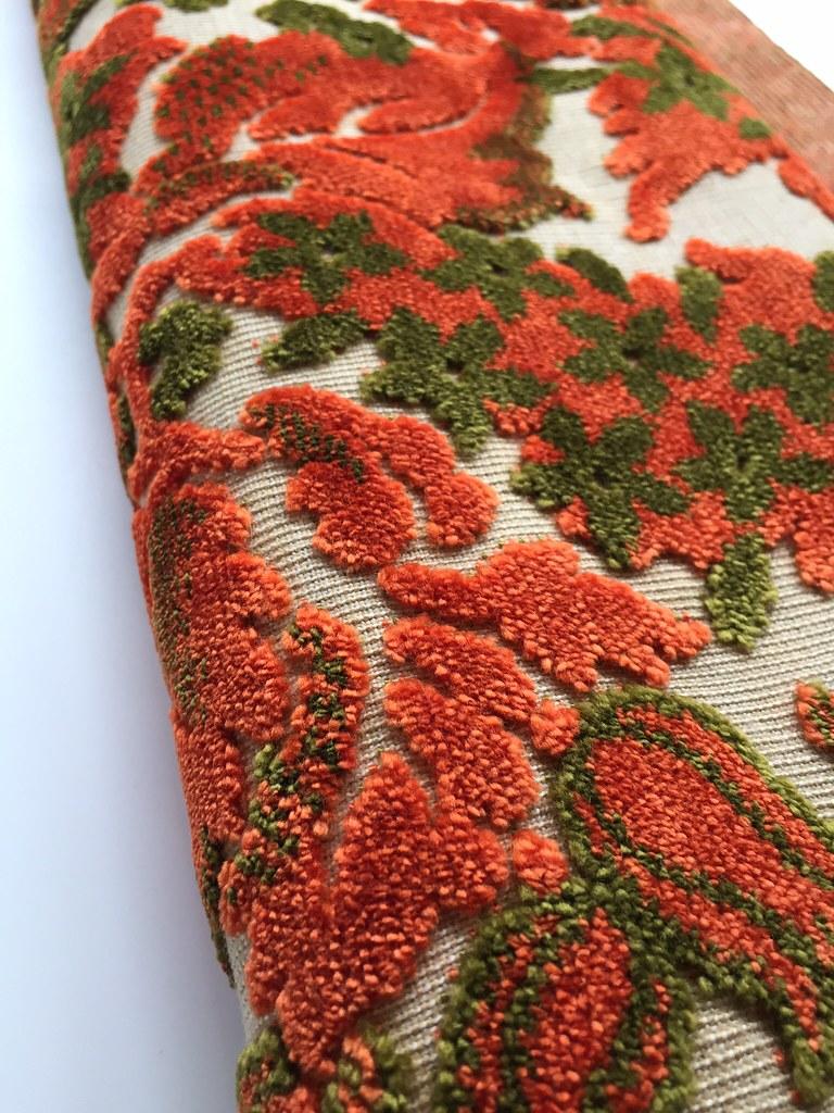 Vintage Orange Cut Velvet Upholstery Fabric A Vibrant Oran Flickr