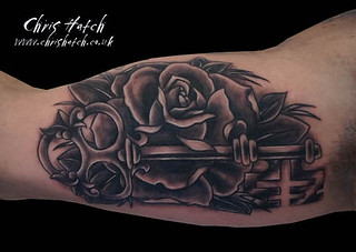 Old School rose and key Tattoo | by Chris Hatch Tattooist
