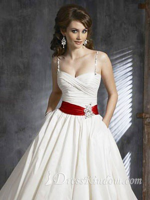 The red belt make this elegant wedding dress a little bit for Wedding dress with red belt