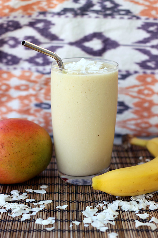 Coconut Mango Banana Smoothie - Gluten-free, Vegan + Refined Sugar-free