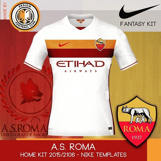 94ceabf324 ... Mockups de novos uniformes para A.S Roma. Criação feita usando  templates Nike 2015 2016