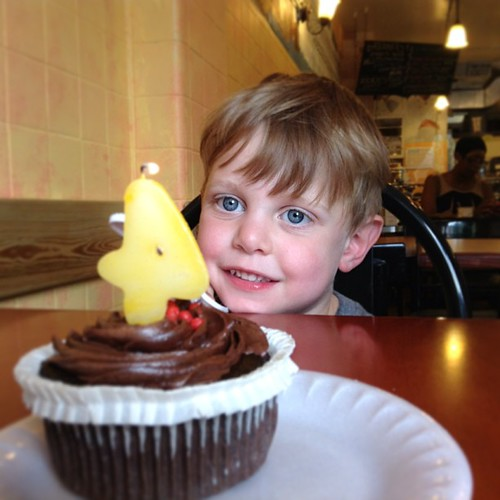 He woke up in time for a GF cupcake at Sweet 27 in Baltimore. | by quirky granola girl