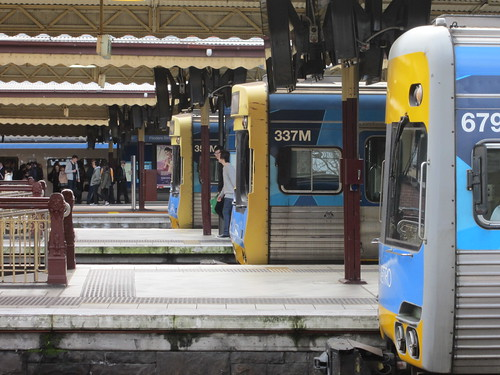 Comeng trains at the platforms, Flinders Street Station | by Daniel Bowen