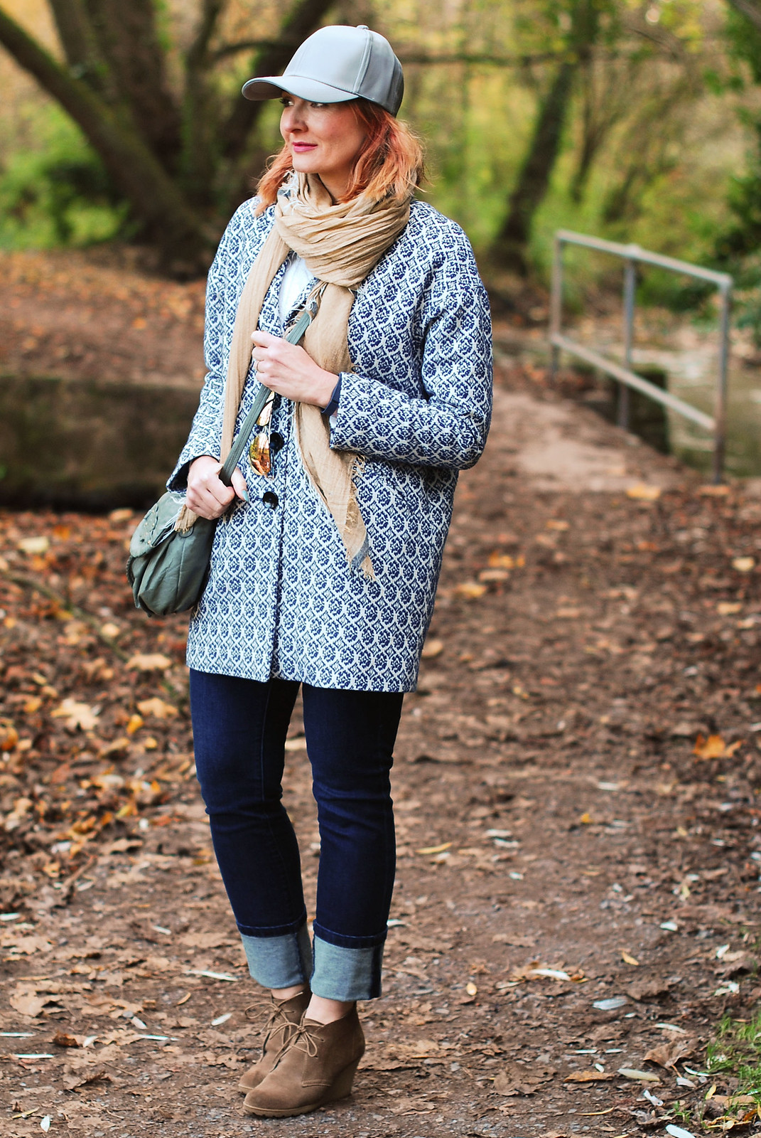Cold weather walking in the woods walking the dog outfit Tapestry coat, deep hem skinnie jeans, grey cap and wedge desert boots | Not Dressed As Lamb, over 40 style blog