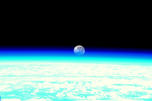 Moonset, as seen from the ISS | by europeanspaceagency