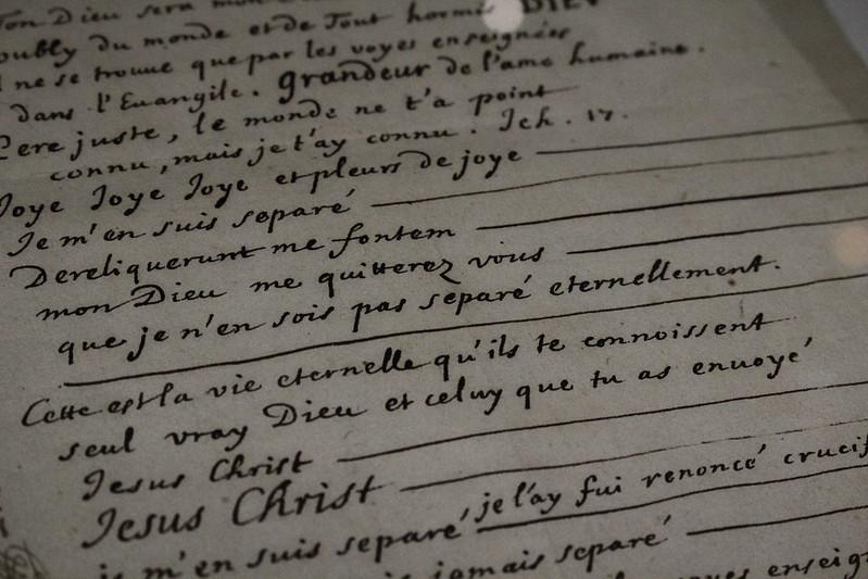 Blaise Pascal, Mémorial, vers 1700 (?) - Exposition Blaise Pascal à la Bibliothèque nationale de France