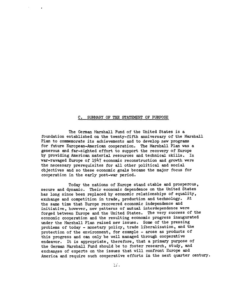 GMF Statement of Purpose 1972 – Sample Statement of Interest