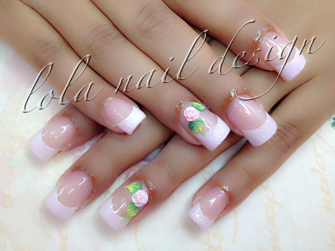 Acrylic Nails With 3d Rose Design Anna Nails Flickr
