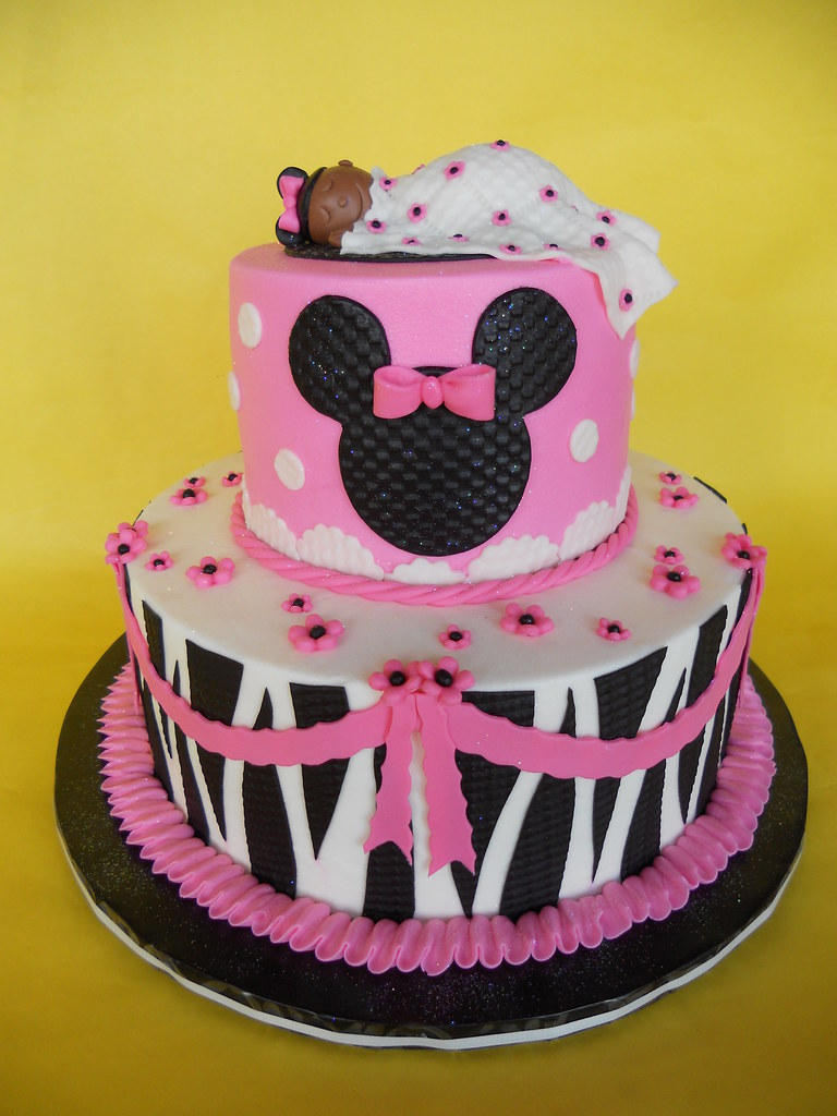 ... Zebra Print Minnie Mouse Baby Shower Cake | By CakesUniqueByAmy.com