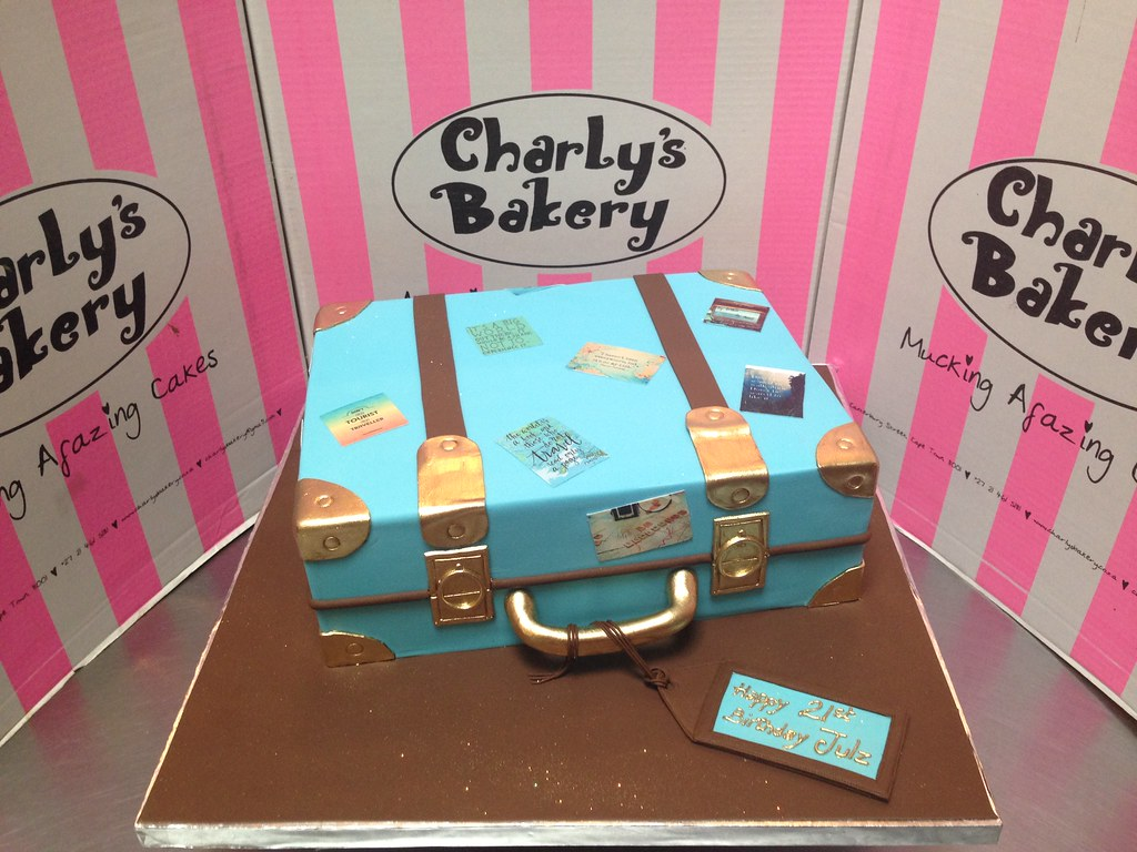 3d Suitcase Shaped 21st Birthday Cake In Sky Blue Brown Flickr