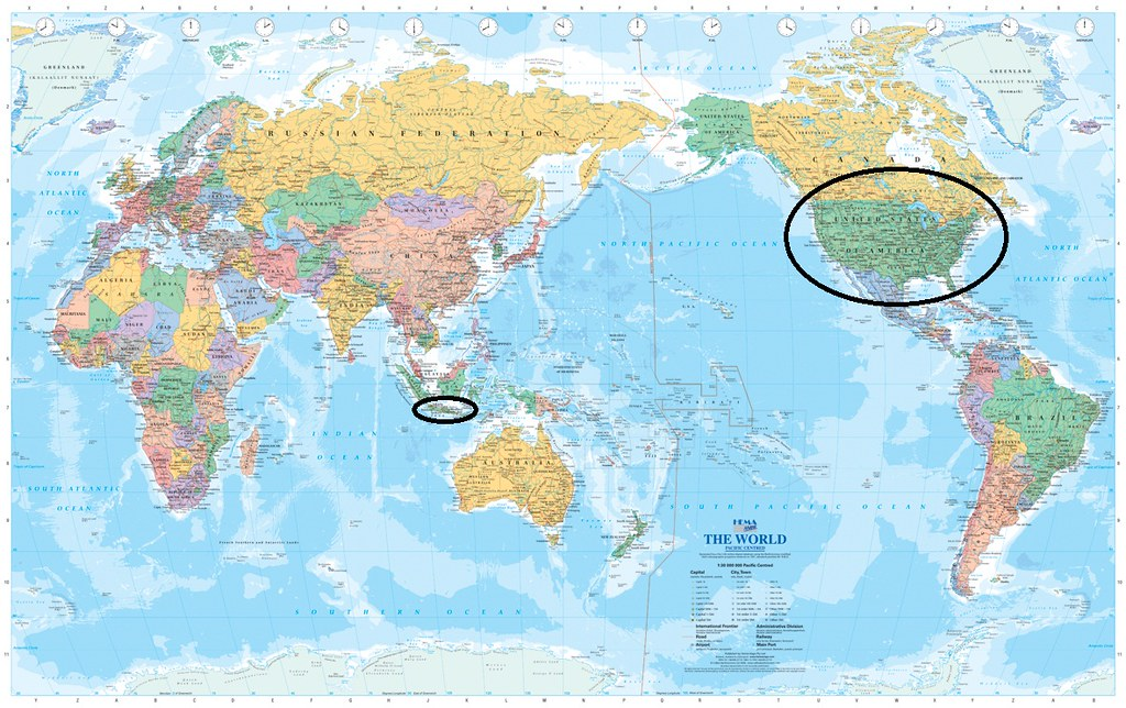 world map with java and the united stated circled by pictures4u2c