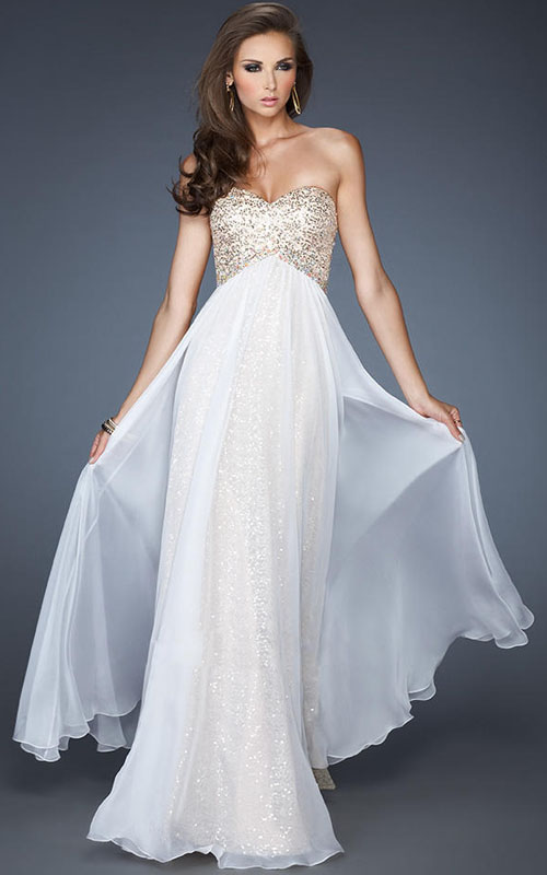 89a40971fb1 ... Strapless Beading Cutout Back Long Prom Dress White With Sheer Overlay
