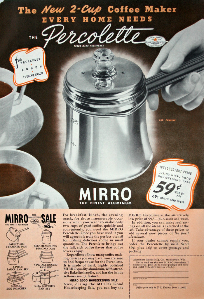 1939 Vintage Print Ad MIRRO Percolette Coffee Maker