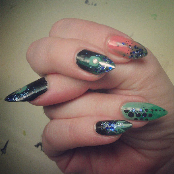 Nails Done In A Mishmash Of Sparkle From The Disney Villai Flickr