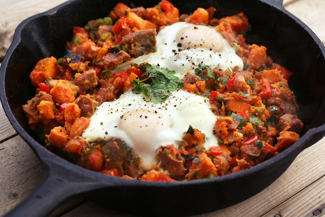 Sweet Potato and Poblano Hash – Gluten-free + Dairy-free with Vegan Option