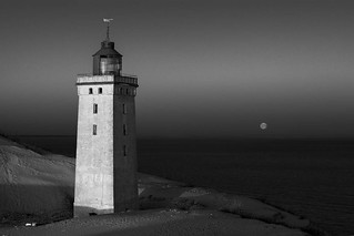 Lighthouse and setting moon | by slobobaby