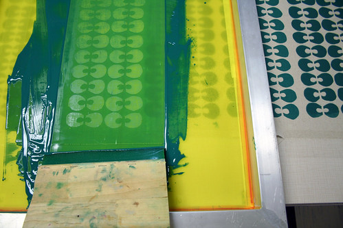 Screen printing the fabric | by Mle BB