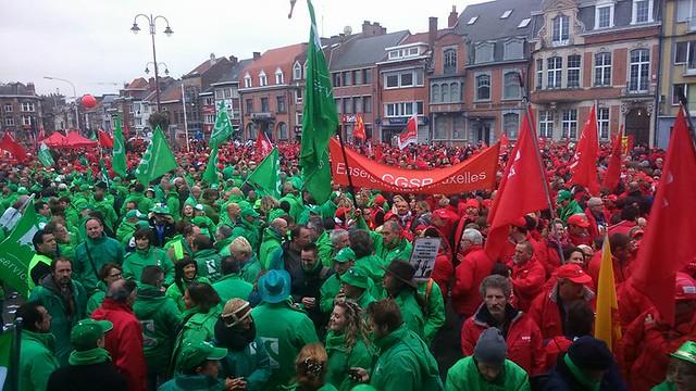 Rassemblement syndical à Wavre contre la politique gouvernementale