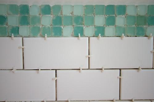 White Glass Subway Tile Kitchen Backsplash