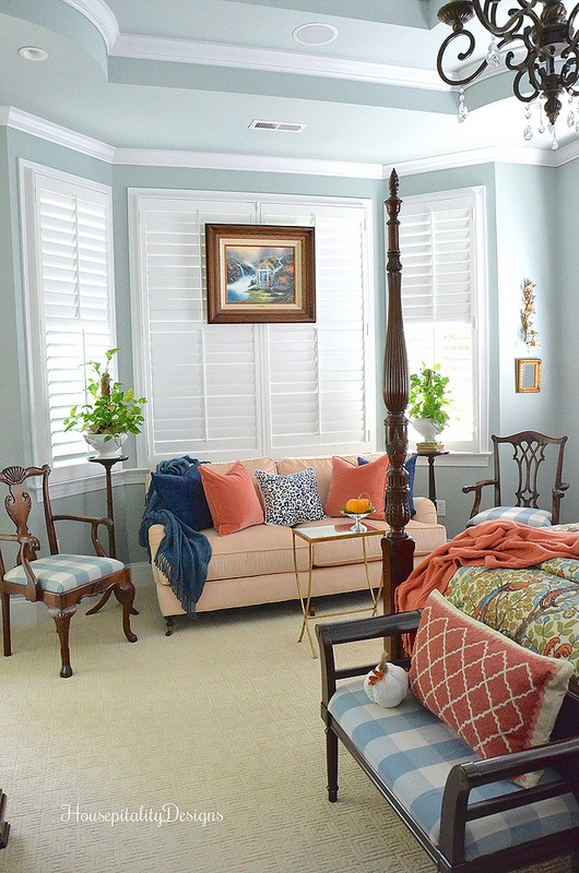 Fall Master Bedroom Sitting Area - Housepitality Designs