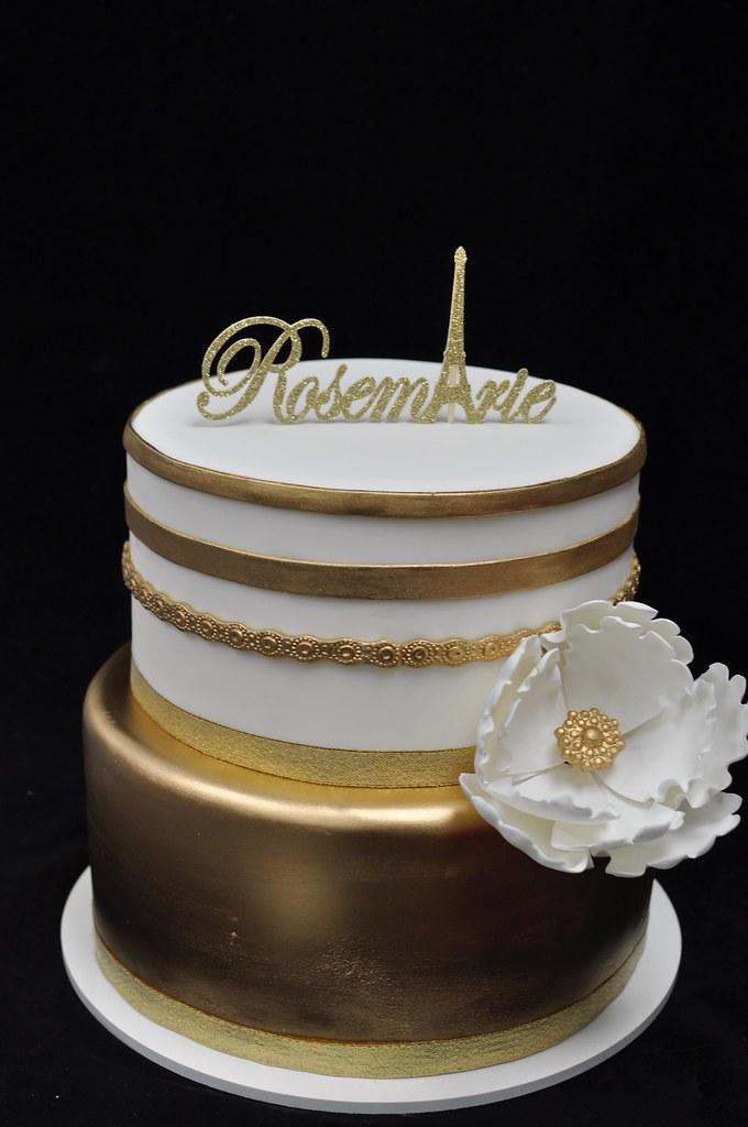 Gold And White Birthday Cake Jenny Wenny Flickr