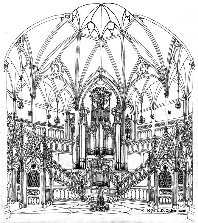 Neo Gothic Hall With Pipe Organ