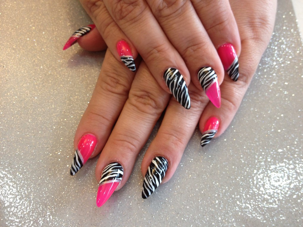 Stilettos nails with pink and zebra print nail art | Flickr