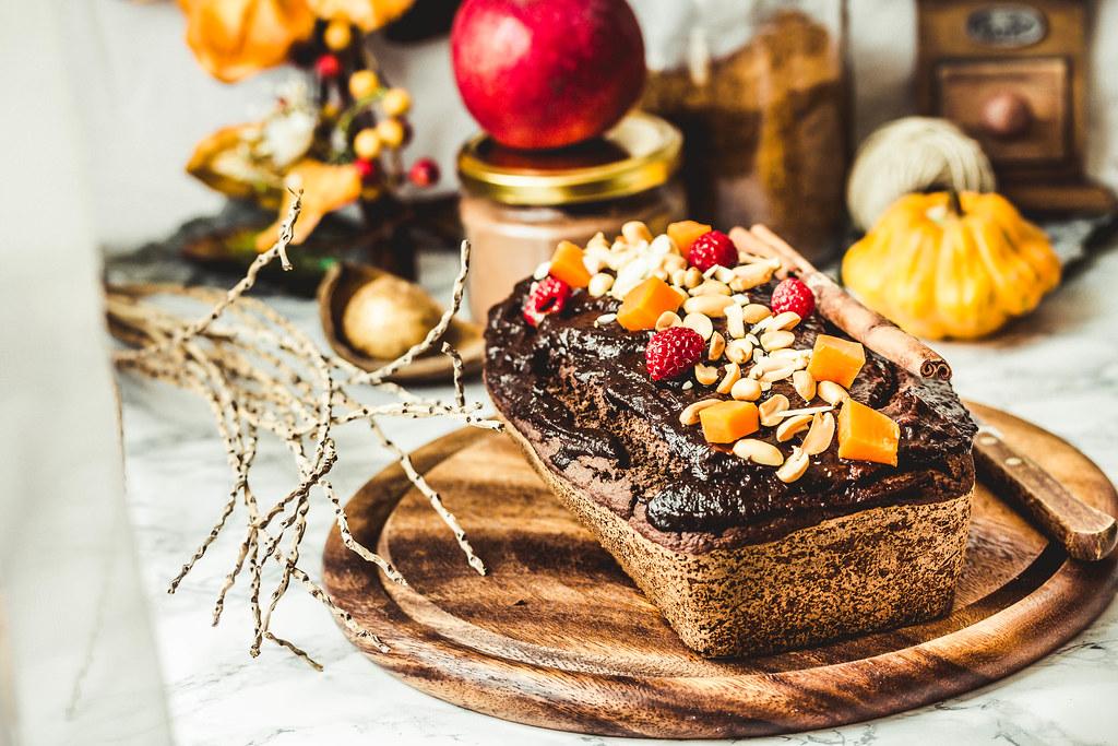 chocolate cake with pumpkin, nuts