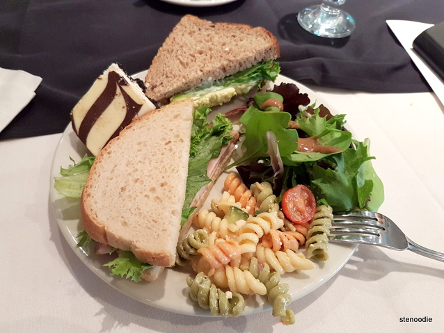 sandwiches, salad, and pasta