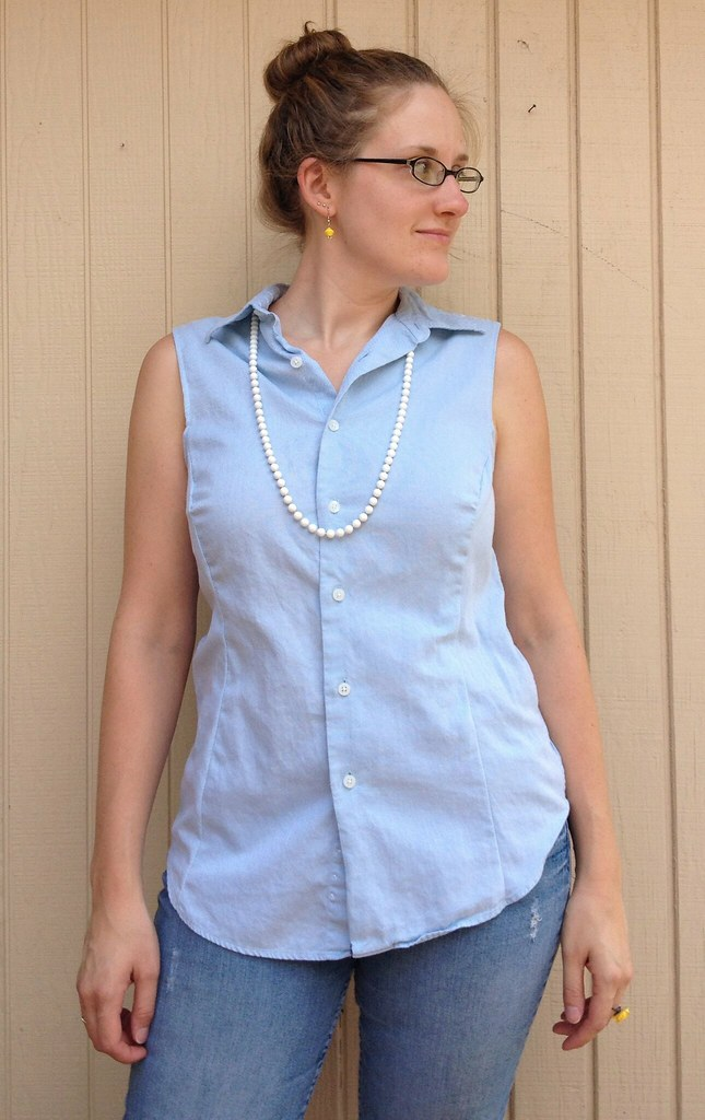 Blue Button-Down Blouse - After | A men's wardrobe staple be