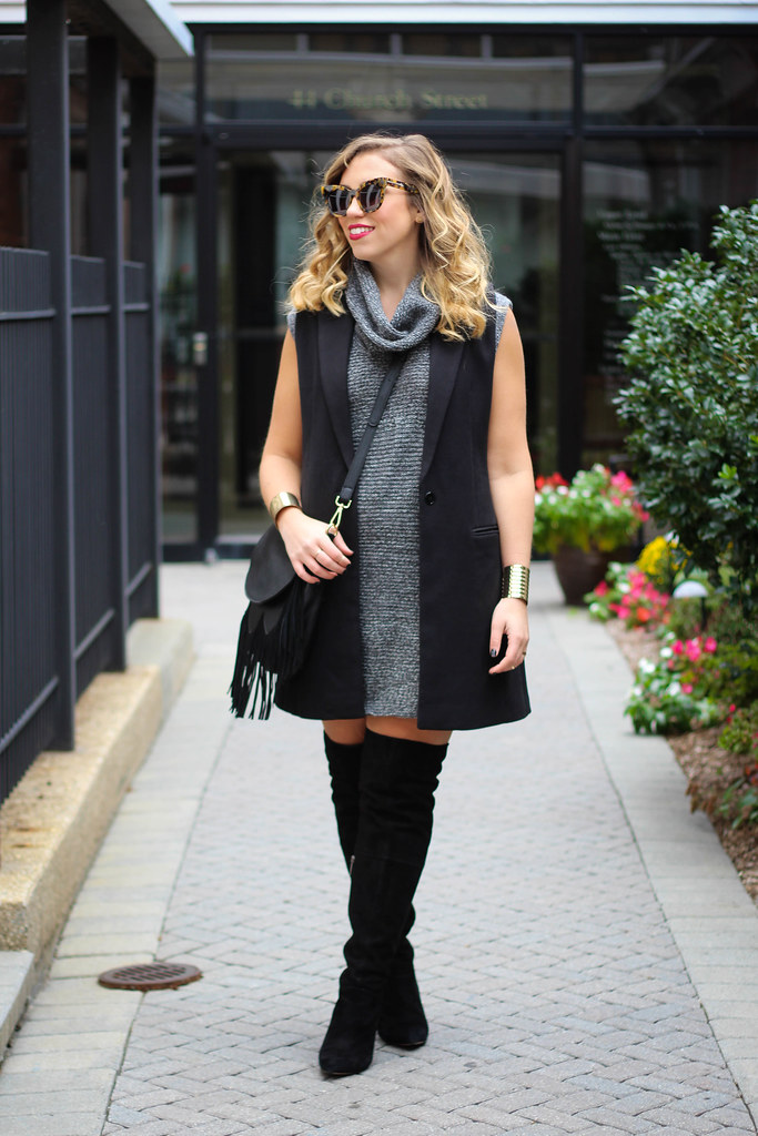 Fall Sweater Dress Black Suede Over the Knee Boots Black Long Vest