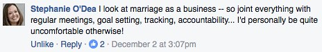 Facebook comment about couples and money