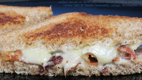 Grilled cheese on wheat with bleu cheese dressing and bacon | by Coyoty