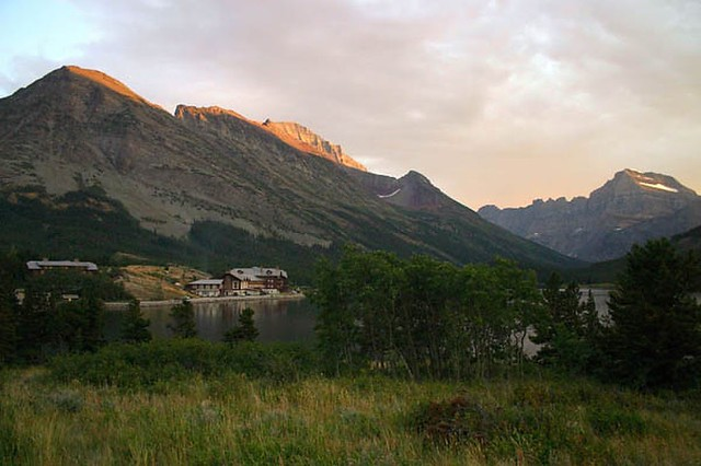 Glacier - Many Glacier - lodge at sunset