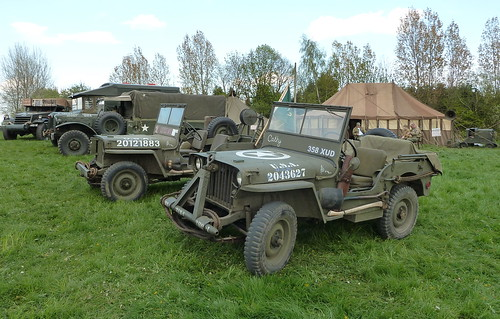 Jeeps, 3310447 Dodge WC62 1½-ton 6x6 weapons carrier, A1736444 Austin K2/Y ambulance and NAS 953 'Tabitha' Half-track Car M2. West Yorkshire Scouts Big Camp Harrogate  2012 | by woodytyke