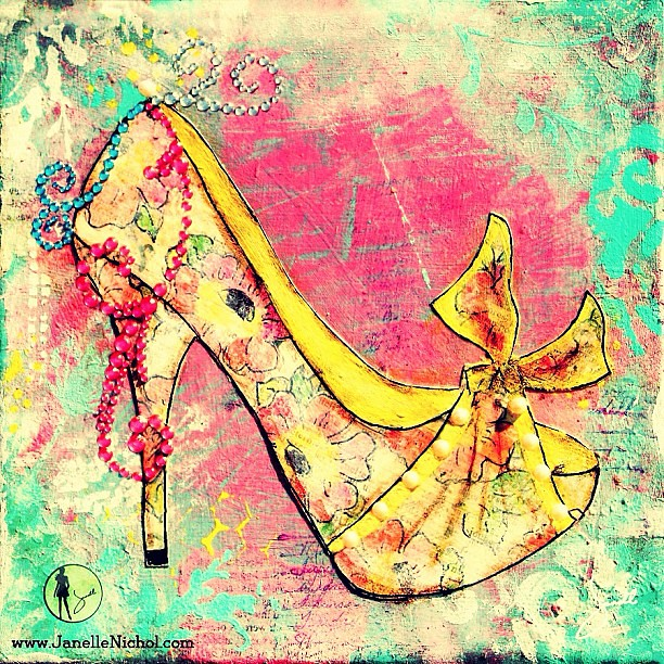 Yellow watercolor flower patterned shoe with turquoise & f… | Flickr
