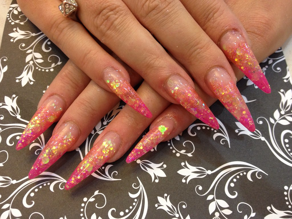 Stiletto nails with orange acrylic fade, pink gel polish a… | Flickr