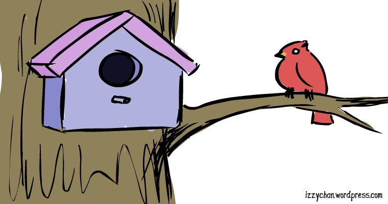red bird tree house
