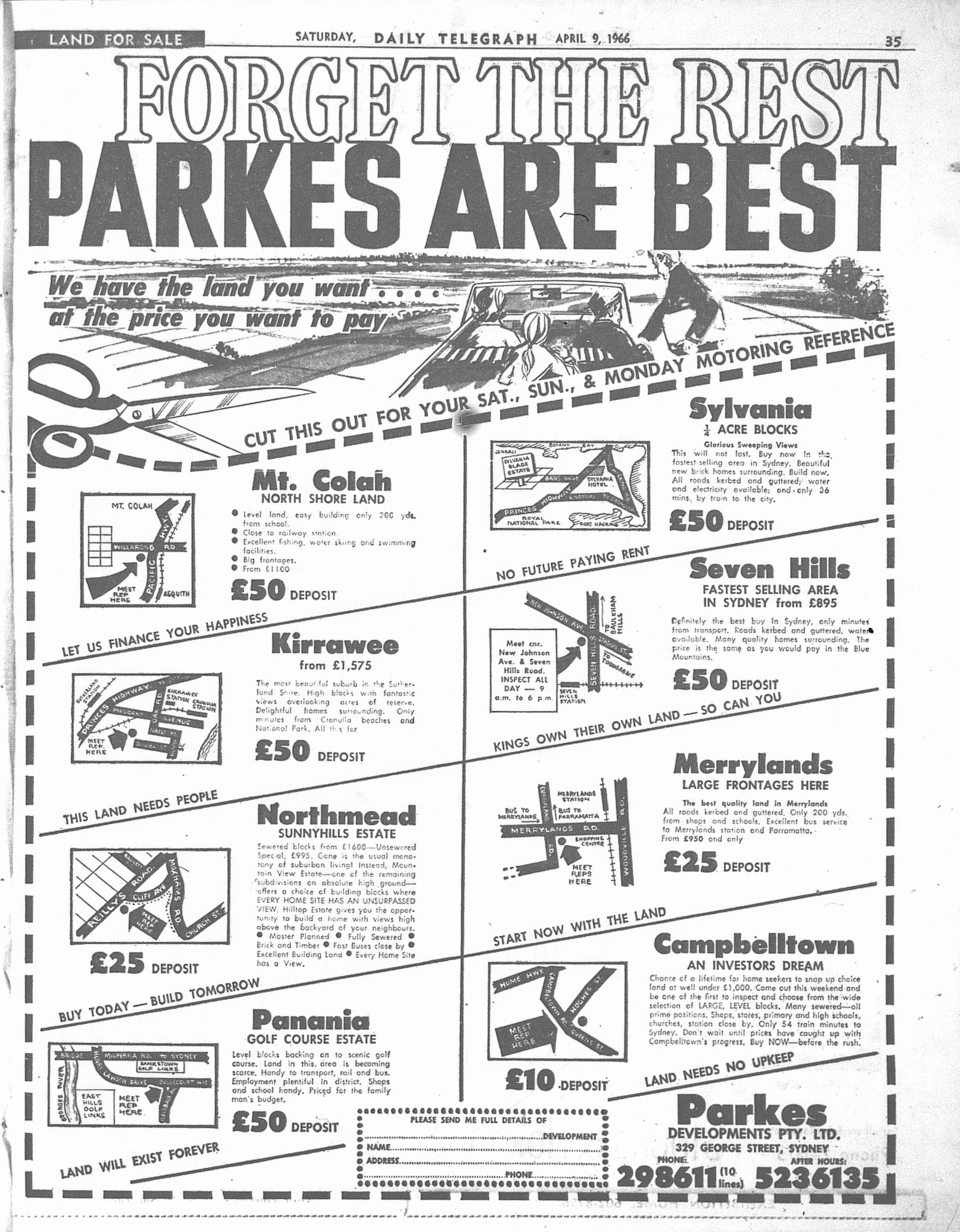 Parkes Ad April 9 1966 daily telegraph 35