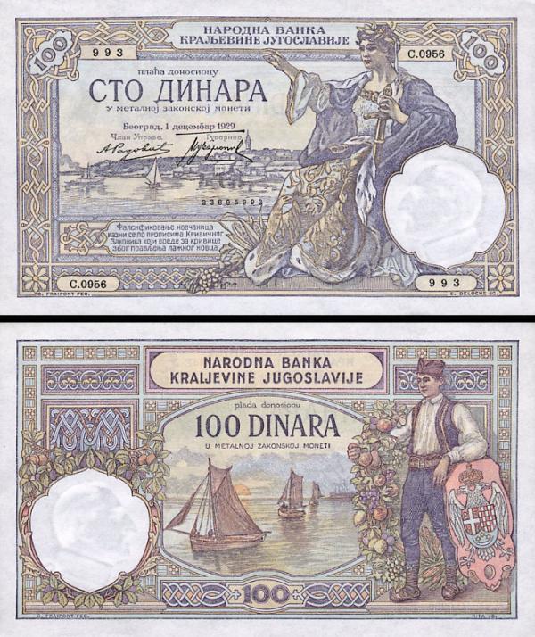 100 Dinárov Juhoslávia 1929, P27b