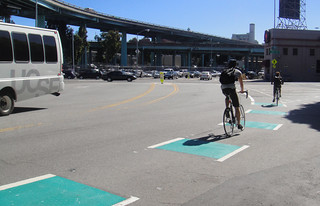 Dashed green pavement treatment on Division Street bike lanes | by sfbike