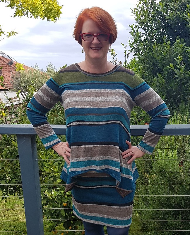 Vogue 9057 top with Style Arc Fay skirt in acrylic knit from Darn Cheap Fabrics