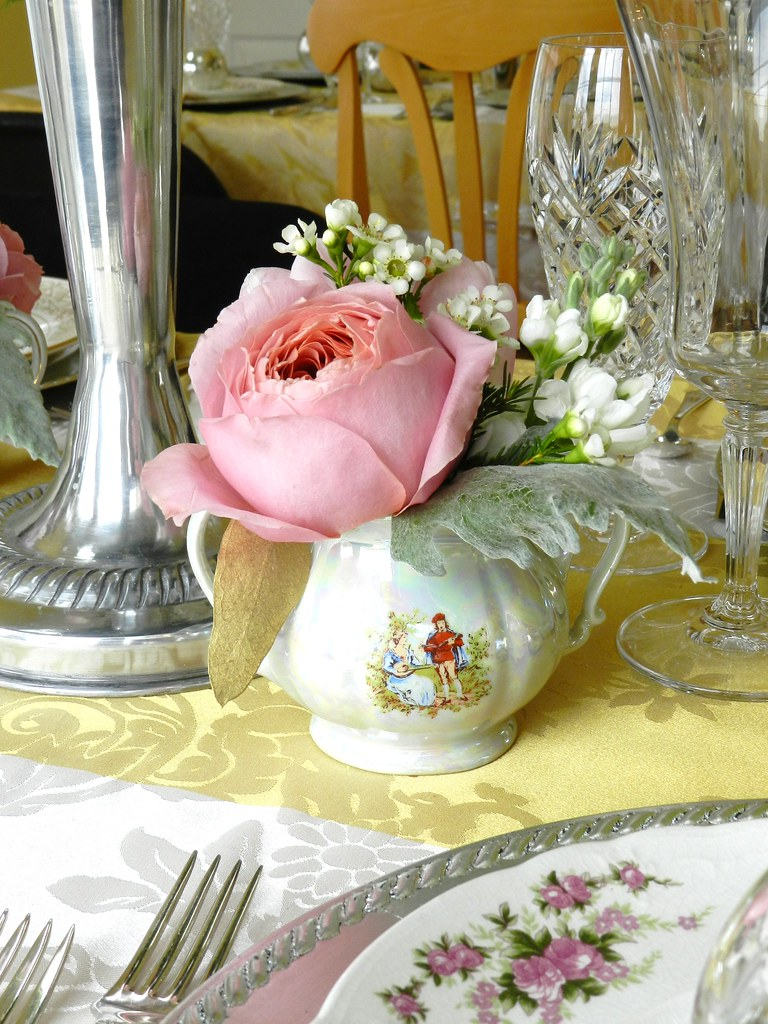 pink garden rosesstock waxflower silver sage plumosa silver creamer