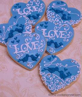 Blue white & silver wedding favour custom cookies | by Cookievonster