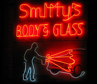 Smitty's Body & Glass neon sign at night | by SeeMidTN.com (aka Brent)